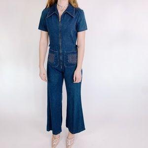 Vintage Pants - Vintage 70s Denim Zip Up Bell Bottoms Jumpsuit SM
